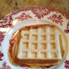 Behold: the waffle grilled cheese. Just take cheese sandwich and put in waffle maker.