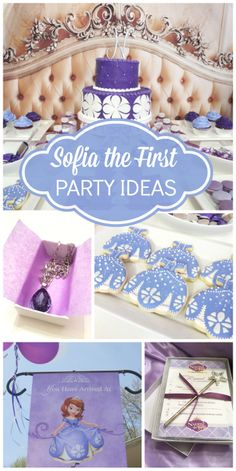 A Sofia the First purple birthday party with decorated cookies, star wands and a lovely cake! See more party ideas at CatchMyParty.com!