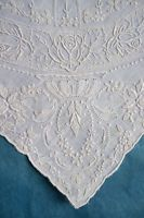 Antique 1920s/30s Chinese embroidered handkerchief  - rose border