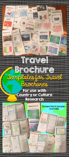 Students will love creating their own travel brochure! Students can research, create, and present information about any country! Great for culture studies and country presentations. This format can also be made into a travel style pamphlet/booklet with multiple pages. Choose from 8 different cover layouts and 6 different inside layouts.