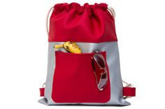 Gray Red Drawstring Backpack Drawstring Bags Sport by SneakyTeaky