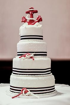 nautical wedding cake - like this w/out the red anchor or ropes
