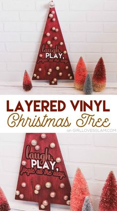 layered vinyl christmas tree on wwwgirllovesglamcom christmas vinyl christmas hacks - Merry Christmas Decorations