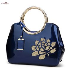 Moccen Floral Women Tote Top-Handle Bags Hollow Out Bag Paten Leather Fashion Bao Bao Brand Bag European And American Style