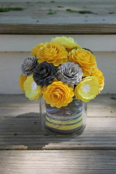 Yellow and Grey Paper Flowers in Mason Jar, Paper carnations, center piece, wedding decoration, paper flowers, mason jar, custom orders by TheFlowerOwl on Etsy https://www.etsy.com/listing/191501934/yellow-and-grey-paper-flowers-in-mason