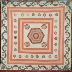 """1840's Medallion Hexagon; Applique Border 
