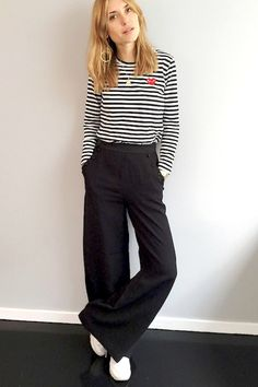 Le Fashion Blog Pernille Teisbaek Blonde Comme Des Garçons Striped Long Sleeve Tee Grey Wide Leg Trousers White Sneakers Via Look De Pernille