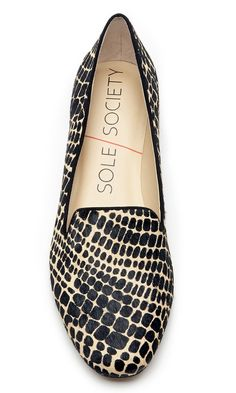 Slip-on printed haircalf smoking slipper