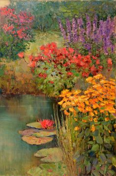 quenalbertini: Lily Pond by Kent R. Oil Painting Flowers, Garden Painting, Watercolor Flowers, Watercolor Paintings, Watercolor Landscape, Landscape Art, Landscape Paintings, Landscape Prints, Landscapes