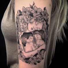 Gustav Klimt's mother and child by @annabel_luyken #gustavklimt #ladiestattooartist #motherandchild #blackwork #blackworktattoo #blackworkerssubmission #blackworkers #btattooing #blackandgrey #illustrativetattoo #gustavklimttattoo #annabelluyken #evilfromtheneedle #evilfromtheneedletattoo #motherslove #threeagesofwoman #fineline #finelinetattoo #floral #floraltattoo
