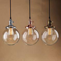 RUSTIC VINTAGE INDUSTRI PENDANT LIGHT GLASS GLOBE SHAD CEILING LAMP FIXTURE BULB