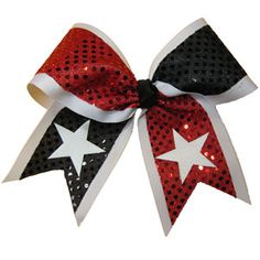 Custom Extra Large Short Tail Flip Flop Sequin Bow with Stars by Cheerleading Company