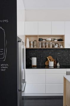 white with black counter top