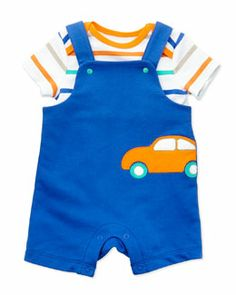 Z175Y Offspring Car-Patch French-Terry Shortall Two-Piece Set, Blue, 3-24 Months
