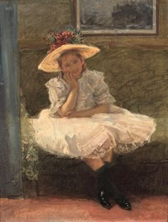 Władysław Podkowiński – Polish) The Girl With Flowered Hat Vintage Pictures, Figurative Art, Kitsch, Art For Kids, Art Children, Art History, Cool Designs, The Past, Drawings