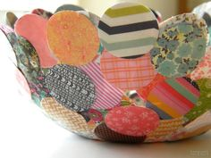 Paper Mache Confetti Bowl - This construction could work for many shapes, and would make wonderful Halloween, Christmas or Easter cups. Recipe for PAPER MACHE glue. Fabulous!
