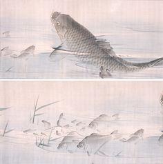長沢芦雪 Rosetsu Nagasawa『花鳥遊魚図』一部抜粋