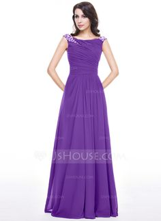 A-Line/Princess Scoop Neck Floor-Length Chiffon Evening Dress With Ruffle Beading Sequins (017062990)