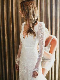Mermaid V-Neck wedding dress, Long Sleeve wedding dress, Tulle Applique wedding…