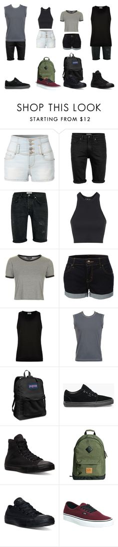 """""""Warped tour"""" by cocopug on Polyvore featuring LE3NO, Topman, Topshop, Dolce&Gabbana, JanSport, Vans and Converse"""
