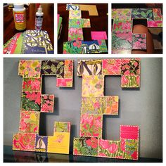 DIY Lilly Pulitzer wooden letters for dorm room. All you need is Mod Podge, an old Lilly Pulitzer planner, and puff paint. Cut the pages of an old Lilly planner and Mod Podge them on the wooden letters. Then puff paint around the edges.