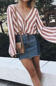 striped flowy top with denim skirt and brown crossbody going out date night summer fashion