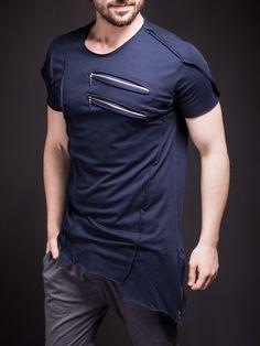 Men Asymmetrical Zippers T-shirt - Navy Blue Short T Shirt, Style Masculin, Denim Fashion, Workout Shirts, Shirt Style, Shirt Designs, Menswear, Tees, Streetwear