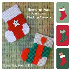 """Plastic Canvas: Hearts and Stars Christmas Stocking Magnets -- """"Ready, Set, Sew!"""" by Evie (Etsy). . .so many colors and styles to make. . .would love to make a custom set for you! ;)"""
