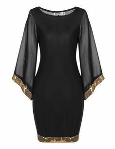 Sleeve Sequined Trim Cocktail Bodycon Pencil Party Dress