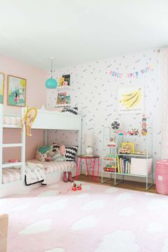 mint & pink shared bedroom // wall decals // kids room