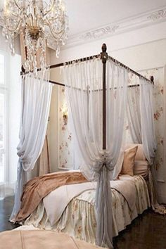 Romantic Four Poster Beds love the four post bed with canopy and wall colorwould be great