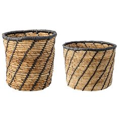 Jute and Black Woven Baskets (size small): Stylish basket with black trim and diagonal stripe detailing for holding an assortment of items - or add your favourite plant.