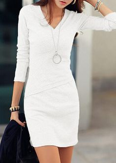 White Long Sleeve V Neck Bodycon Dress