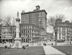 """Circa """"Court and Chenango streets, Binghamton, New York."""" The Kilmer Building center stage. glass negative, Detroit Publishing Co. Binghamton New York, Great Places, Beautiful Places, Local History, History Pics, Family History, Victorian Buildings, Photography Sites, Vintage New York"""