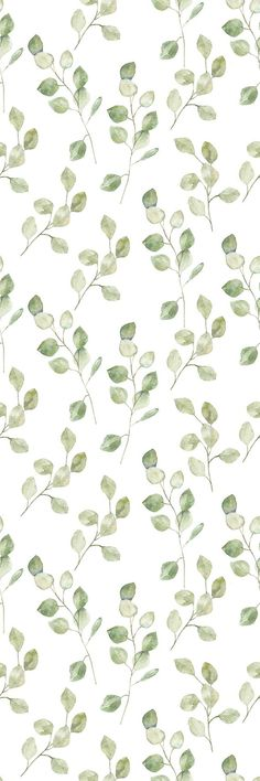 Removable Wallpaper Peel and Stick Wallpaper Self Adhesive Wallpaper Green Leaves on White Backgroun