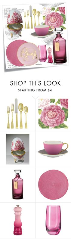 """""""pink passion"""" by angelicallxx ❤ liked on Polyvore featuring interior, interiors, interior design, home, home decor, interior decorating, Ballard Designs, Caspari, Kate Spade and Waterford"""
