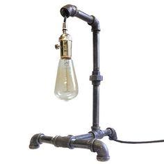 Industrial Desk Lamp Galvanized Pipe Steam Punk Side Table Loft Office Edison
