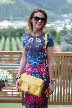 summer outfits, floral mirror print, Asos floral dress, Rebecca Minkoff yellow mac bag, Fashion and Cookies
