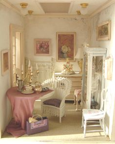 "Sorry, no source for pretty shabby chic room in ""Ancient Roses"" dollhouse."