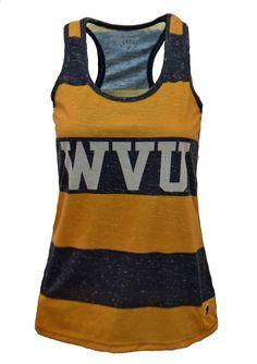2f3e3d621f8 Women s Spirit Tank Stripe - Navy Gold  bookexchangewv  wvu  mountaineers  Wvu Football