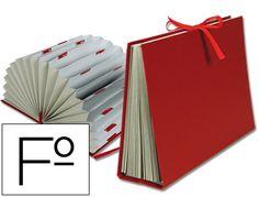 Carpeta fuelle Liderpapel folio carton forrado burdeos 01377 , rojo, Hipermaterial.