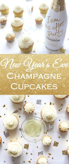 Ring in the new year with champagne cupcakes! Holiday guests will love this boozy dessert while toasting on New Year's Eve.   Cocktail cupcake recipe on If You Give a Blonde a Kitchen