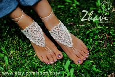 Ivory Crochet Barefoot Sandals, Neutral barefoot sandles, Nude shoes, Toe thong, Belly Dance shoes, wedding party sandals, yoga shoes