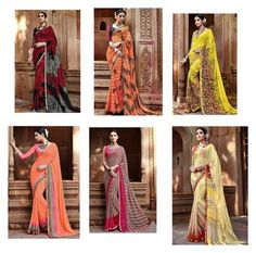 """Designer Georgette Printed Sarees By DNU"" by designersandyou ❤ liked on Polyvore"