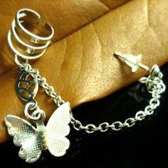 Fashion Silver Butterfly Chain Ear Cuff Clip Piercing Studs Earrings Women Gift