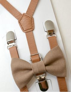 SET Kids Boys   Brown Faux  Leather Suspenders & Rustic Brown Linen Clip on / pre-tied Bow Tie  8 MONTHS - ADULT size