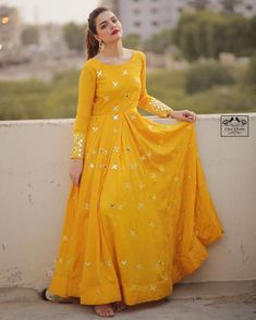 LC-262 YELLOW MUSTERED STITCHED GOWN  ₹1,299.00 WHATSAPP ::9725516626      CODE :: LC-262     GOWN TYPE :: FULL STITCHED     GOWN SIZE :: UP TO 42 TO 44″     GOWN LENGTH :: 55″     GOWN SLEEVE :: FULL SLEEVE     GOWN FABRICS :: GEORGETTE     GOWN WORK ::  BOTH SIDE EMBROIDERY ZARI WORK     GOWN INNER :: BUTTER SILK     SHIPPING CHARGE :: FREE SHIPPING IN INDIA  Pakistani Fashion Party Wear, Indian Fashion Dresses, Frock Fashion, Indian Gowns Dresses, Dress Indian Style, Indian Designer Outfits, Indian Designers, Indian Outfits, Fashion Outfits