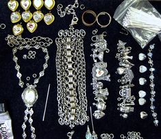 WTW 6/28 Lots of charms from B'Sue and different chains, Silware and B'Sue by 1928 + some Dresden Roses, Cameo and freebie brass heart lockets. MockiDesigns.etsy.com