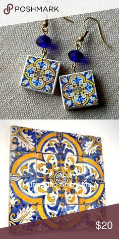 Hand Made Portugese Tile Replica  Earrings Handmade by a Portuguese artist.  Each pair is unique and designed to replicate the actual tiles on buildings in Portugal that have fallen into disrepair.  And, each comes with it's own story.    These tiles are replicas from the 17th Century and are now found in the National Tile Museum in Lisbon.  Tiles are approximately 2 cm square Jewelry Earrings