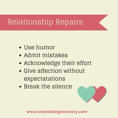 Here are some helpful tips on relationship repairs when things get rough. Recognize your partner's attempts to reconnect so you resolve things quicker. Acknowledge progress and learn to implement these simple strategies to repair old hurts.